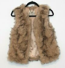 BB Dakota Women's Tan/Black Lined Faux Fur Vest with Hook Closures Size Small