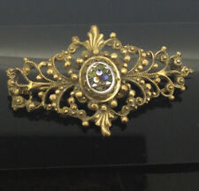 Victorian Micromosaic Brooch Pin Gilt Substantial Filigree Metal Gorgeous C1890s