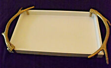 "Brass Deer Antler Handles Wooden Gallery Tray White 26""x16"" Total Hobby Lobby"