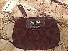 Coach Madison Brown Mini Skinny Op Art Zip Coin Purse Keyring 41981