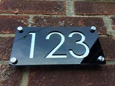Moderno numeri CIVICI INCISI Alluminio / Nero Effetto contemporaneo indirizzo casa