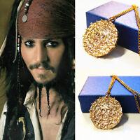Halloweenen Men Skull Gold Jack Coin Medallion Necklace Pirates of the Caribbean