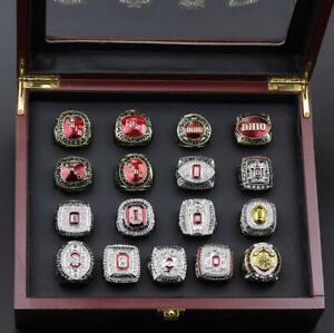 NCAA 17 PCS Ohio State Buckeyes National Championship Ring Set Wooden Box Gift
