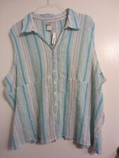 BUTTERFLY TAG plus size 30W 32W 4X AQUA STRIPE sleeveless button shirt EUC #488