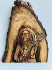 Wooden Wall Hanging Jamaican Bob Marley Hand Carved Natural Pyrography Art