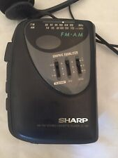 Sharp Cassette Player Am Fm Jc196 Graphic Equalizer W Original Headphones Tested