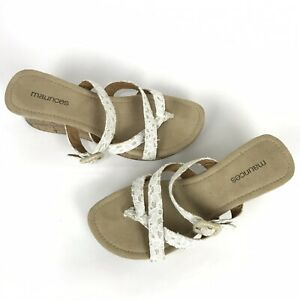 Maurices Diana White Beige Lace Overlay Thong Cork Wedge Sandal NWOT Size 8 M