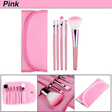 7tlg Pinsel Professionelle Set Make-up Echthaar Brush mit kosmetik Tasche Pink