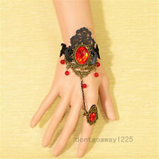 Sexy New Gothic Ruby Red Black Lace Slave Bronze Bracelet Ring Goth Punk Hot