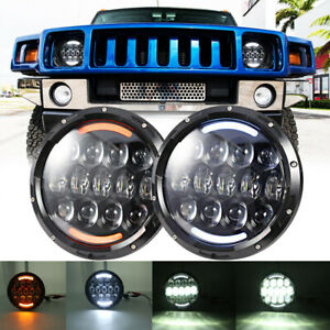 """105W Pair 7"""" Round LED Headlights Halo DRL For Hummer H1 H2 2003-2009 AM General"""