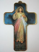 "Divine Mercy Picture Wall Cross on Wood  5"" Made in Italy"