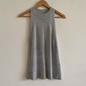 topshop small silver lame lurex tank top sleeveless holiday party new years