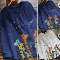 UK Womens Drawstring Printed Long Sleeve V Neck Casual Loose Tops Shirt Blouse