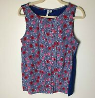 Elle Women's Sleeveless Top Size Medium Floral Pleated Front Blue Red Pink White