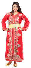 Moroccan kaftan Caftan Takchita Handmade Wedding Gown BrideDress Free Belt Red