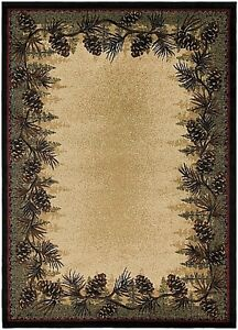 Mount Le Conte Round Oval Runner Area Rug Mat Lodge Cabin Pine Cone Green Beige