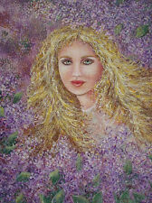 Fine Oil painting portrait beautiful young girl with yellow hair purple flowers