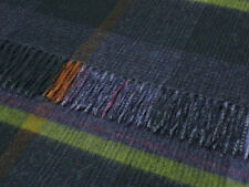 BRONTE NEW RANGE PURE MERINO LAMBSWOOL THROW BLANKET RUG  - DENIM PATCHWORK