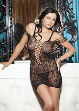 Sexy Black Lace Mini Dress Chemise Criss-Cross Front One Size HOT Shirley 90268