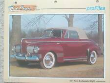 1941 NASH AMBASSADOR Eight / 8 Data Sheet / Brochure / Photo / Picture