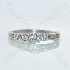 14K White Gold Finish 3-Stone Round Cut D/VVS1 Diamond Engagement Wedding Ring