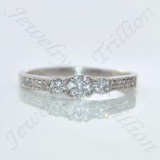 14K White Gold Finish 3-Stone Round Cut D/VVS1 Diamond Engagement Wedding Ring