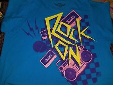 Retro 1980s Inspired Cassette Tapes Rock On T-shirt Men's XL Carbon Teal