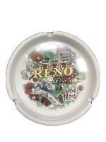 "5"" Reno Nevada White Ceramic Ashtray Roulette Wheel Cards Dice Gambling"
