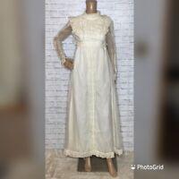 vintage 70s gunne sax dress cottagecore maxi prairie lace