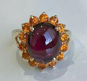 14k solid gold w/ Garnet & Citrine ring 5.50g size P 1/2 -  7 3/4
