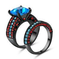 Size 7 Black Rhodium Wedding Ring 2-in-1 Engagement Blue Gemstone Valentine
