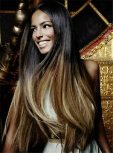 Graceful Long Layered Straight Dark Blond Mix Brown Ombre Women's Synthetic Wig