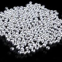 100x/SET Genuine Sterling Silver Round Ball Beads for Jewelry Making Findings