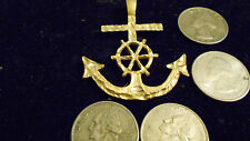 bling gold plated boat ship wheel mariner anchor pendant charm necklace jewelry