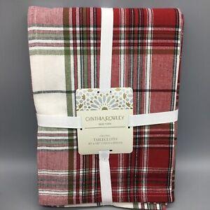 Cynthia Rowley Tartan Plaid Tablecloth Red Green Silver 60x120 Christmas Holiday