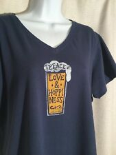 bbd272e15f7094 Life Is Good Womens Size XL Peace Love Hoppiness V-neck T-shirt Tee