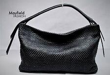 Cole Haan Bethany Woven Black Leather Weave Hobo Bag, EUC!