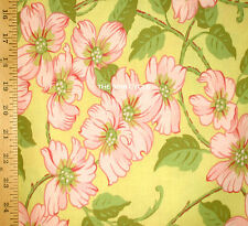 1YD Spring DOGWOOD FESTIVAL Yellow Pink Blossom Tree Flower Free Spirit Fabric