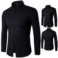 NEW Chinese Style Mens Slim Fit Casual Shirt Collar Dress Shirts Tang Suit Tops