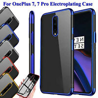 Shockproof Ultra Slim Soft TPU Plating Clear Back Case Cover For OnePlus 7 Pro