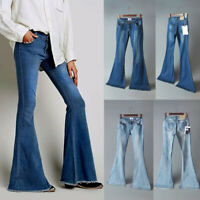 Womens Denim Loose Bell-bottom Toursers Flared High Waist Pants Boot Cut Jeans