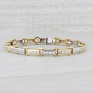 "2.75ctw Diamond Bar Link Bracelet 18k Yellow White Gold 7"" 6.3mm Chain"