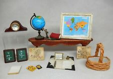 Vintage School Lot Clock Globe Chalkboard Crayons Dollhouse Miniature 1:12