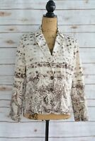 Chico's - Ivory BROWN abstract print COTTON blend button front jacket, sz 1