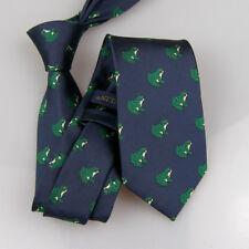 LAMMULIN Blue w Green/Silver Ties Frog Animal Pattern Necktie Jacquard Tie 7cm