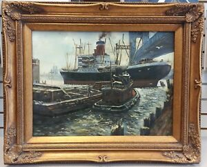 Vintage NYC East River tugboat Manhattan Bridge boats ship painting framed GUO