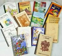Lot of 10 RANDOM Assorted/Mixed/Regional Spiral Cookbooks, Vintage/Contemporary