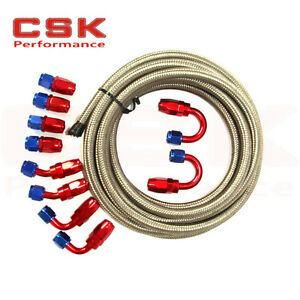 AN6 6AN -6 STEEL BRAIDED FUEL HOSE END OIL GAS LINE + FITTING ADAPTOR KIT SL