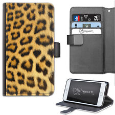 Hairyworm Natural Leopard Print Deluxe PU Leather Wallet Phone Case, Flip Case