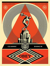 SHEPARD FAIREY OBEY GIANT Pedestal Classic Discs Art Signed Print Poster Nation